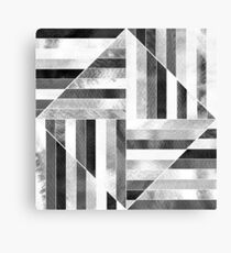 Modern Bauhaus Watercolor Abstract Diamonds - Black and White  Canvas Print