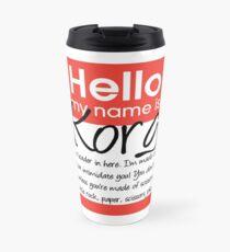 Hello My Name Is Korg Travel Mug