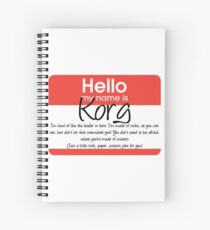 Hello My Name Is Korg Spiral Notebook