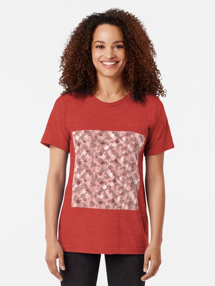 Alternate view of Mermaid Scales Skinny Rose Gold Metallic Sparkly Glitter Blush Pink Tri-blend T-Shirt