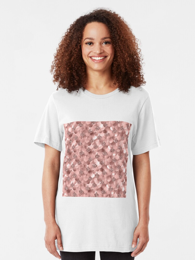 Alternate view of Mermaid Scales Skinny Rose Gold Metallic Sparkly Glitter Blush Pink Slim Fit T-Shirt