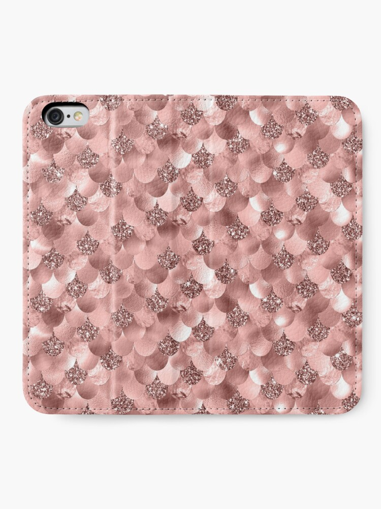 Alternate view of Mermaid Scales Skinny Rose Gold Metallic Sparkly Glitter Blush Pink iPhone Wallet
