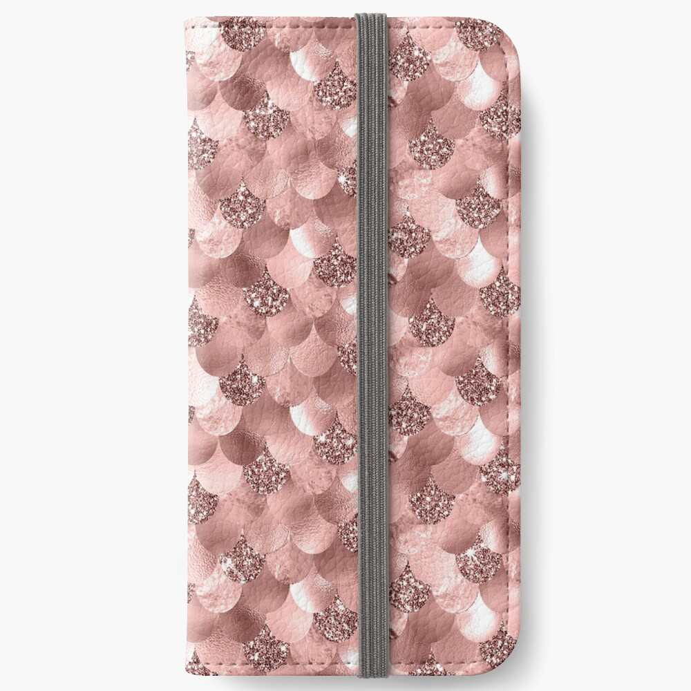 Mermaid Scales Skinny Rose Gold Metallic Sparkly Glitter Blush Pink iPhone Wallet