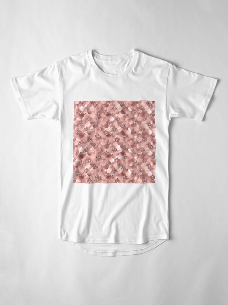 Alternate view of Mermaid Scales Skinny Rose Gold Metallic Sparkly Glitter Blush Pink Long T-Shirt