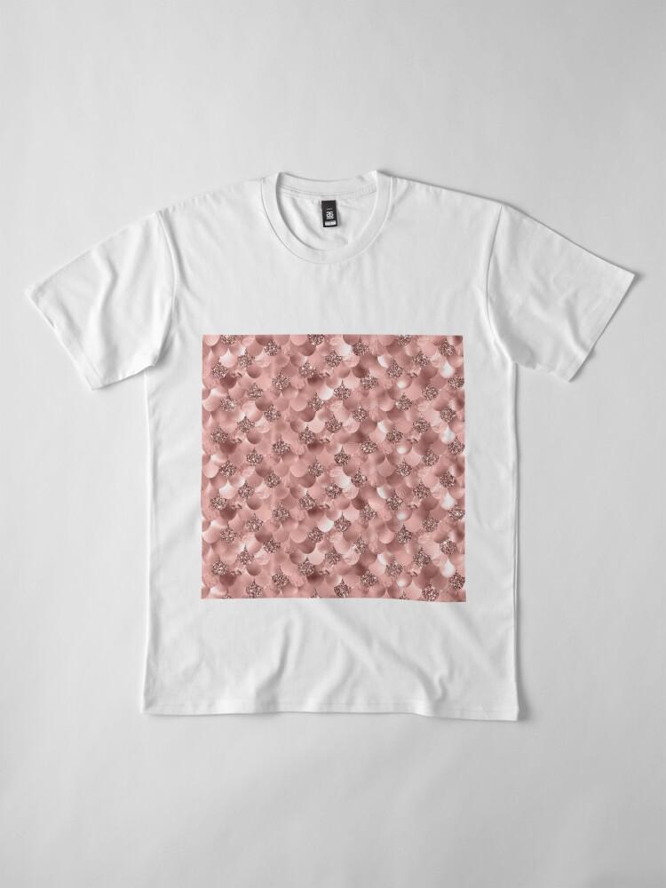 Alternate view of Mermaid Scales Skinny Rose Gold Metallic Sparkly Glitter Blush Pink Premium T-Shirt