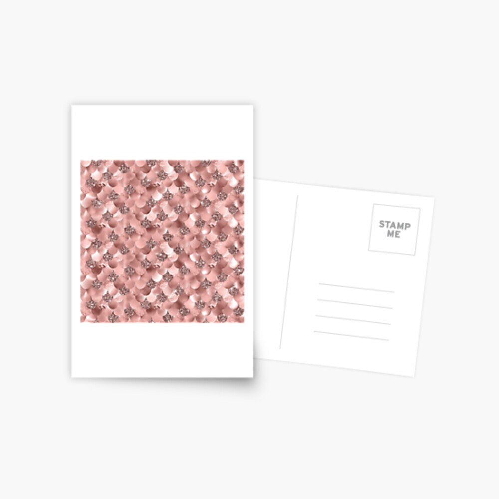 Mermaid Scales Skinny Rose Gold Metallic Sparkly Glitter Blush Pink Postcard