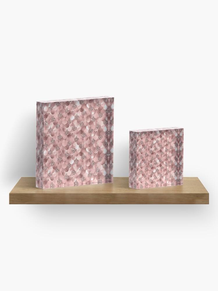 Alternate view of Mermaid Scales Skinny Rose Gold Metallic Sparkly Glitter Blush Pink Acrylic Block