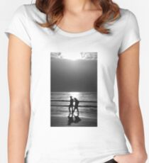 Couple walking along a beach at sunset. Black and white. Women's Fitted Scoop T-Shirt
