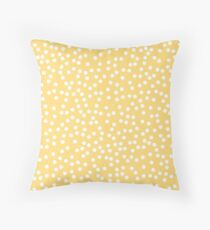 Simple Yellow and White Polka Dots Throw Pillow