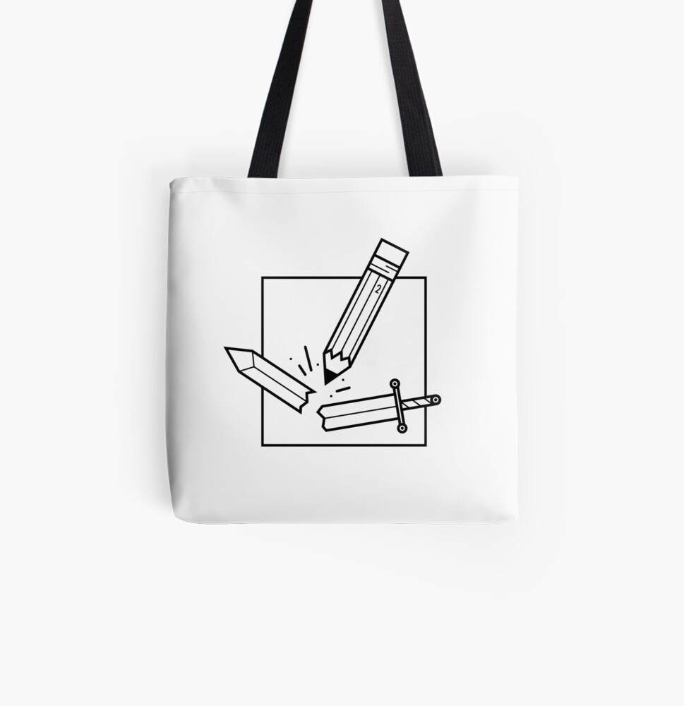 The Pencil is Mightier than the Sword All Over Print Tote Bag