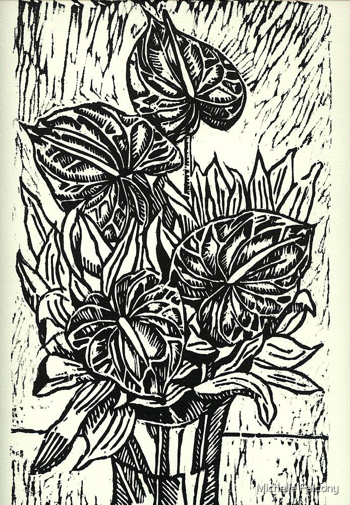 Cuatro Anturios (Four Anthuriums) by Michelle Falcony