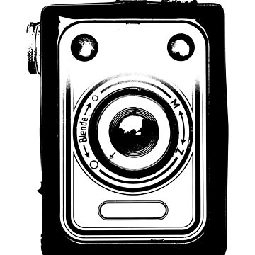 Old retro vintage film slr camera front view by UDDesign