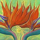 Strelitzia, Bird of Paradise, Orange Flower, Floral Art by clipsocallipso