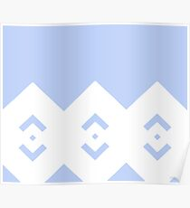 Abstract geometric pattern - blue and white. Poster