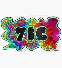 ABSTRACT, GROOVY, AND PSYCHEDELIC 716 DESIGN - VIBRANT COLORS WITH YOUR FAVORITE AREA CODE Poster