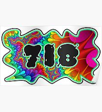 ABSTRACT, GROOVY, AND PSYCHEDELIC 718 DESIGN - VIBRANT COLORS WITH YOUR FAVORITE AREA CODE Poster