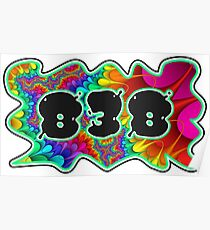 ABSTRACT, GROOVY, AND PSYCHEDELIC 838 DESIGN - VIBRANT COLORS WITH YOUR FAVORITE AREA CODE Poster