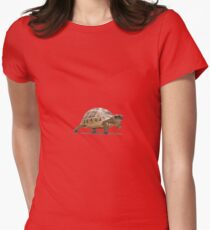 Marching Baby Tortoise Cartoon Vector Isolated Women's Fitted T-Shirt