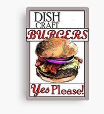Dish Craft Burgers Canvas Print