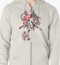 Red Carbon Sands Zipped Hoodie