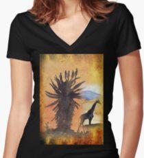 Lodge décor – African Bushveld scene Women's Fitted V-Neck T-Shirt