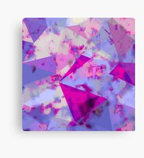 geometric triangle pattern abstract background in pink and blue Canvas Print