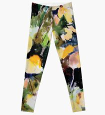Round Yellow Leaves Leggings