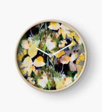 Round Yellow Leaves Clock