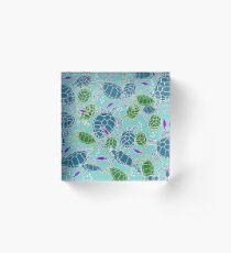 Bright Blue with Dark Blue & Green Sea Turtles with Purple Fish Acrylic Block