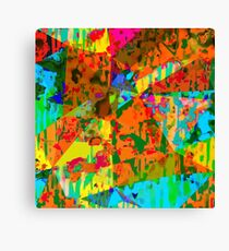 geometric triangle polygon pattern abstract in orange green yellow blue Canvas Print