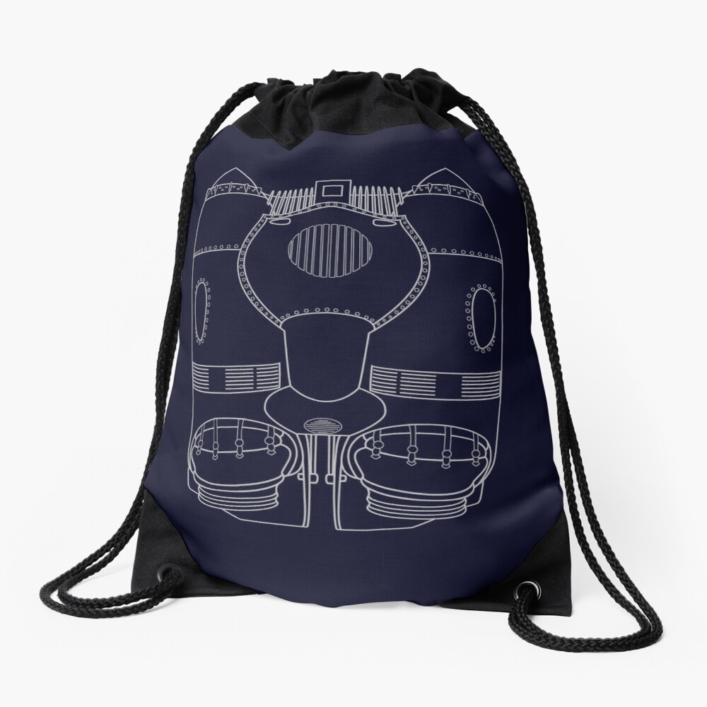 Rocketeer Rocket Jetpack Schematics  Drawstring Bag