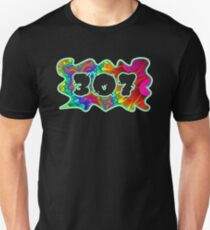 ABSTRACT, GROOVY, AND PSYCHEDELIC 307 DESIGN - VIBRANT COLORS WITH YOUR FAVORITE AREA CODE Unisex T-Shirt
