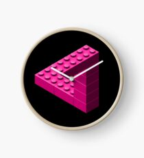 Escher Toy Bricks - Pink Clock