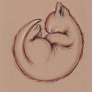 Sleepy Little Kitty - Prisma Pencil Cat Drawing by Rebecca Rees