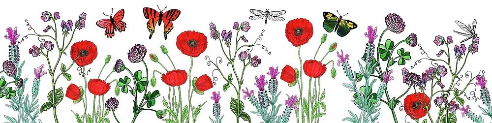 Wildflowers Butterflies And Dragonflies  by Irina Sztukowski