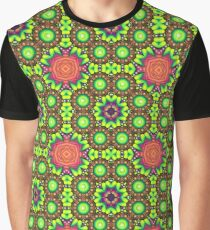 floral abstraction red green psychedelic abstract multi-colored seamless colorful repeat pattern Graphic T-Shirt