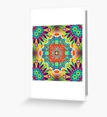 yellow psychedelic cover bright black red seamless colorful repeat pattern Greeting Card