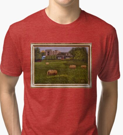 A LITTLE BIT OF COUNTRY, ACRYLIC PAINTING, DISPLAYED WITH SYNTHETIC FRAME Tri-blend T-Shirt