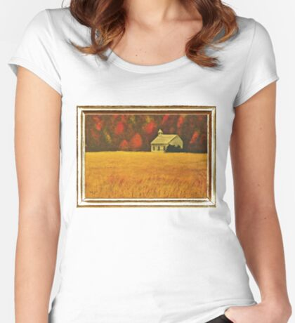 MOUNTAIN AUTUMN, ACRYLIC PAINTING, DISPLAYED WITH SYNTHETIC FRAME  Women's Fitted Scoop T-Shirt