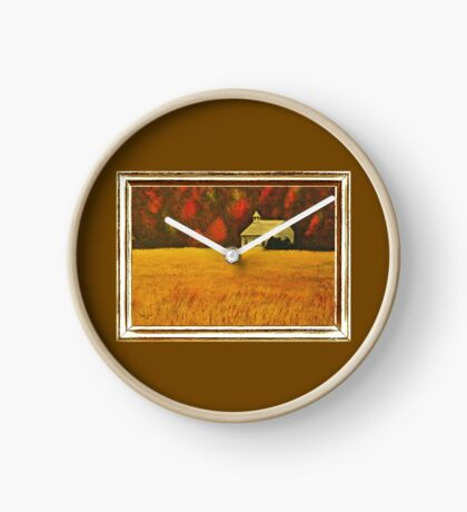 MOUNTAIN AUTUMN, ACRYLIC PAINTING, DISPLAYED WITH SYNTHETIC FRAME  Clock