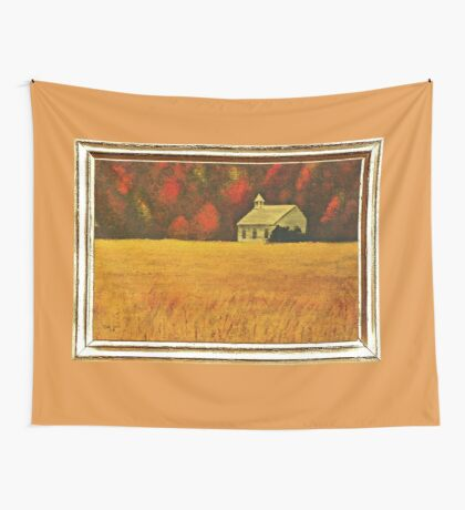 MOUNTAIN AUTUMN, ACRYLIC PAINTING, DISPLAYED WITH SYNTHETIC FRAME  Wall Tapestry