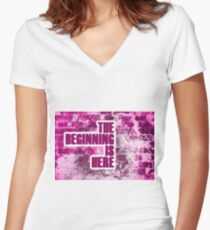 The Beginning is Here Women's Fitted V-Neck T-Shirt