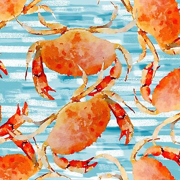 Cooked Crabs on Stripey Blue by Lauriepysz