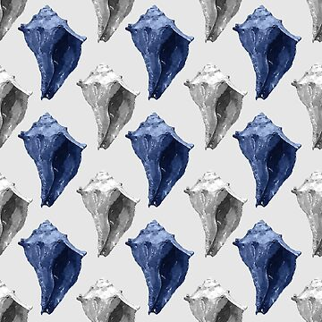 Conch Shells in Blue and Gray by Lauriepysz