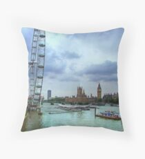 London Icons - The Eye, and Westminster Throw Pillow