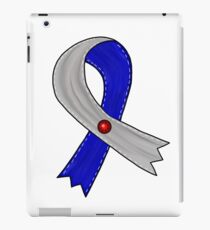 Blue and Gray Ribbon with Red Jewel iPad Case/Skin