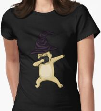Dabbing Pug Witch Halloween Women's Fitted T-Shirt