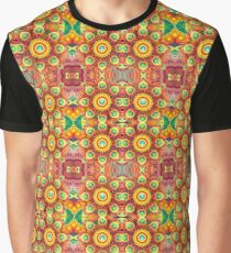 multi-colored cover floral bumper garden bright yellow psychedelic seamless colorful repeat pattern Graphic T-Shirt