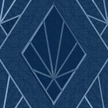 Art Deco diamond pattern in blue by almawad