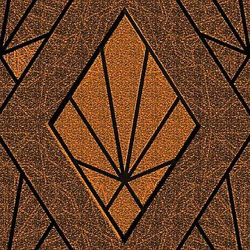 brown orange Art Deco diamond pattern by almawad